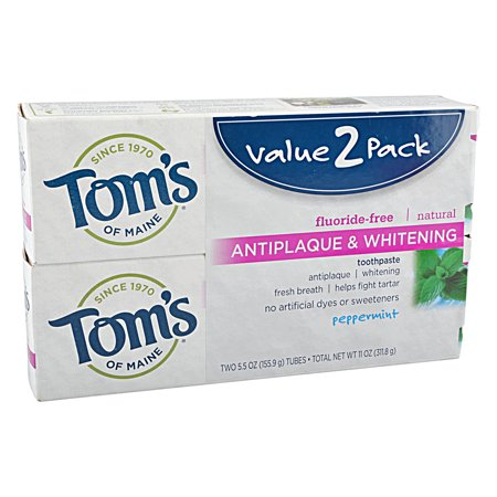 - Tom's of Maine Natural Toothpaste Peppermint Antiplaque & Whitening, 2 ct
