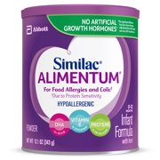 Similac Alimentum Hypoallergenic Infant Formula for Food Allergies and Colic, Baby Formula, Powder, 12.1 ounces