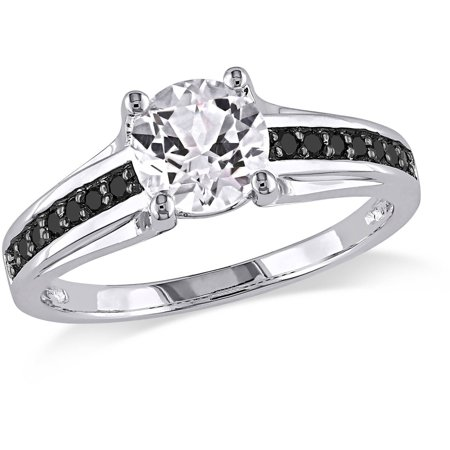 - 1-3/8 Carat T.G.W. Created White Sapphire and 1/7 Carat T.W. Black Diamond Sterling Silver Ring