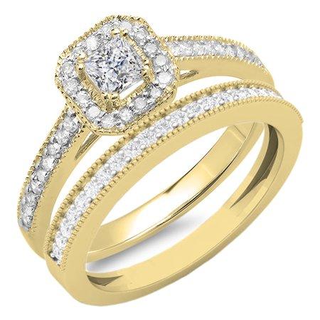 14k Celtic Engagement Ring - Dazzlingrock Collection 0.65 Carat (ctw) 14K White Diamond Ladies Bridal Halo Engagement Ring Set, Yellow Gold, Size 6