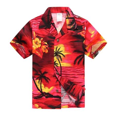 Bay Hawaiian Shirt (Boy Hawaiian Aloha Luau Shirt Only in Red Sunset 10 Year Old )