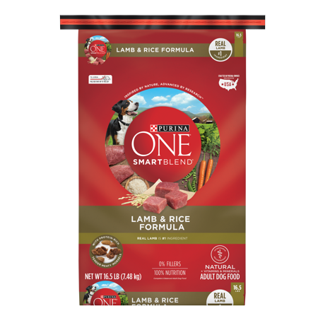 Purina ONE Natural Dry Dog Food; SmartBlend Lamb & Rice Formula - 16.5 lb. Bag