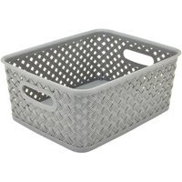 Simplify Small Resin Wicker Storage Tote Basket Weave