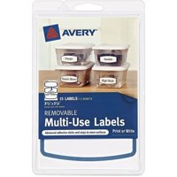 "(4 Pack) Avery(R) Removable Multiuse Labels 41445, Blue Border, 3-3/4"" x 1-5/8"", Pack of 15"