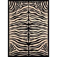 Terra Zebra Woven Area Rug Black and Beige