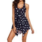 84bde2da726 Plus Size Women Swimdress Polka Dots Swimsuit Two Piece Swimwear Beachwear  Push Up Bra Padded Halterneck