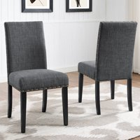Roundhill Furniture Biony Fabric Nail Head Dining Chair Set of 2, Gray