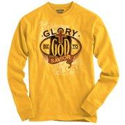 e928a630c5b90 Christian Long Sleeve T Shirt Glory Be To God Savior Jesus Christ Faith  Religion by Christian
