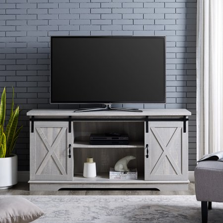 Manor Park Modern Farmhouse Sliding Barn Door TV Stand for TV's up to 64