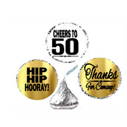 50th Birthday Anniversary Cheers Hooray Thanks For Coming 324pk Stickers Labels Chocolate Drop
