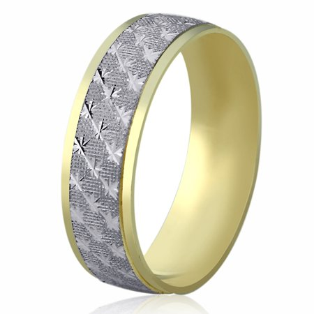 Men Women 14K Yellow Gold & White Gold Wedding Band 6mm Machine Cut Patterned Ring 14k Gold Womens Wedding Band 6mm