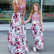 beb4e301bc005 Family Matching Clothes Women Girls Mother and Daughter Floral Dresses  Outfits Mon Pink Flower
