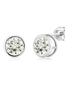 925 Sterling Silver Earrings Forever Classic Round Created Moissanite 6.5mm