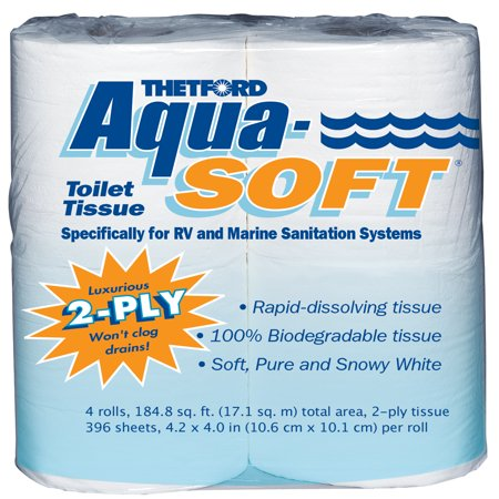 (6 Pack) Aqua-Soft Toilet Tissue - Toilet Paper for RV and marine - 2-ply - 4 rolls - Thetford 03300