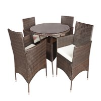 Outdoor Patio Table and Chairs Dining furniture Set (Brown)