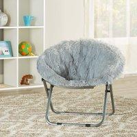 Mainstays Kids Blair Plush Faux-Fur Saucer Chair, Multiple Colors