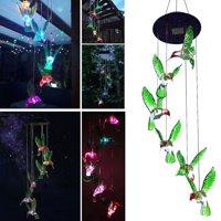 TSV Hummingbird Solar Powered Bird Wind Chimes Outdoor Changing Color LED Bird Spinner Garden Decoration