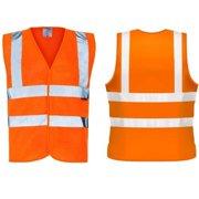 c98214f3e825 Wideskall® Class 2 High Visibility Polyester ANSI Safety Vest wtih 4  Reflective Strips Orange (