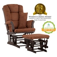 Storkcraft Tuscany Glider and Ottoman with Lumbar Pillow Black with Chocolate Cushions