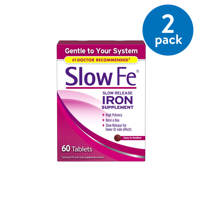 (2 Pack) Slow Fe Iron Tablets, Slow Release, High Potency, 60 ct