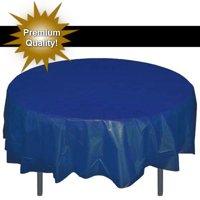 Exquisite 12 Pack Premium Navy Blue Plastic Tablecloth, 84 Inch Round