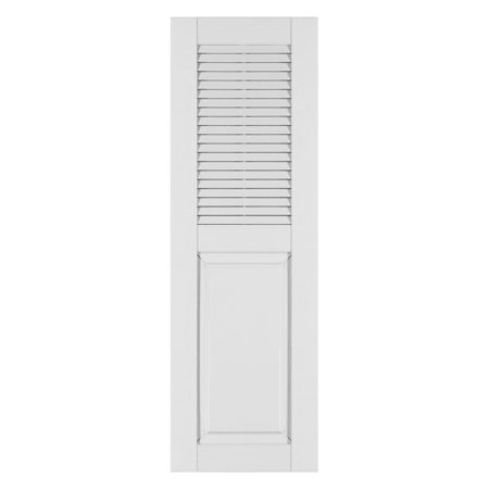 Perfect Shutters 14.5W in. Louvered Raised Panel Vinyl Shutters (Vinyl Raised Panel Shutters)