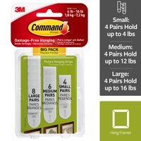 Command Assorted Picture Hanging Strips Big Pack, White, 8 Large Pairs, 5 Medium Pairs, & 4 Small Pairs
