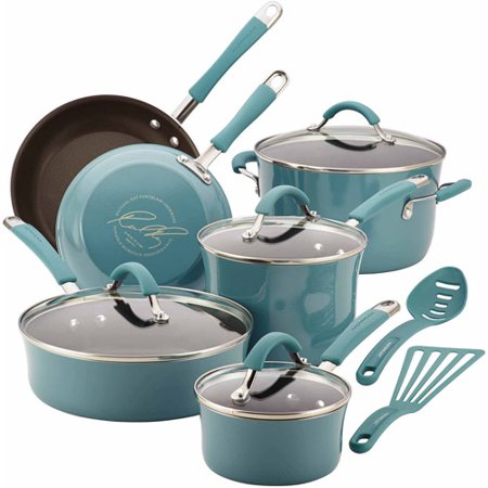 Rachael Ray Cucina Hard Enamel Nonstick 12-Piece Cookware Set, Agave