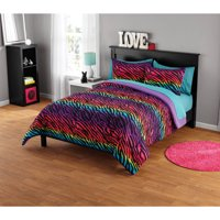 Your Zone Rainbow Zebra Comforter Set, Available in Multiple Prints