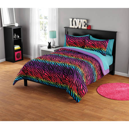 Your Zone Rainbow Zebra Comforter Set, Available in Multiple - Rainbow Zebra
