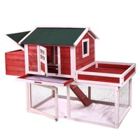 "Jaxpety 65"" Wooden Deluxe Poultry Cage Rabbit Hutch Chicken Coop Hen House Backyard"