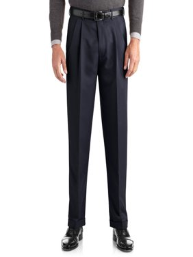 Big Men's Pleated Cuffed Microfiber Dress Pant With Adjustable Waistband