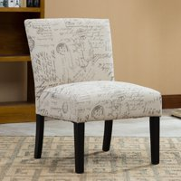 Roundhill Botticelli English Letter Print Fabric Armless Contemporary Accent Chair, Single