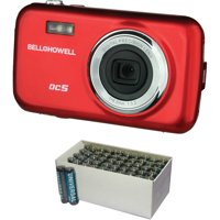Bell+Howell Red Fun-Flix DC5 Kid's Digital Camera with 5 Megapixels and UPG D5323/D5923 Super-Heavy-Duty Battery Value Box (AAA; 50-Pack)
