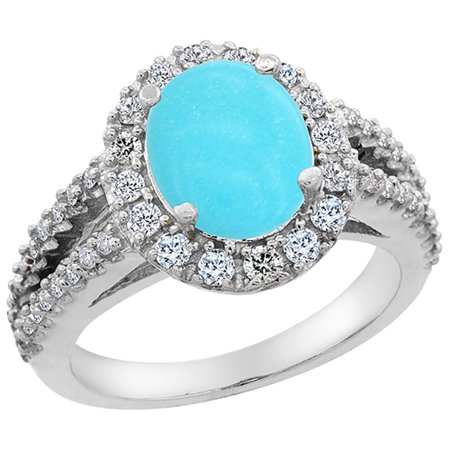 Natural Sleeping Beauty Turquoise (14K White Gold Natural Diamond Sleeping Beauty Turquoise Engagement Ring Oval 10x8mm, size 6.5 )