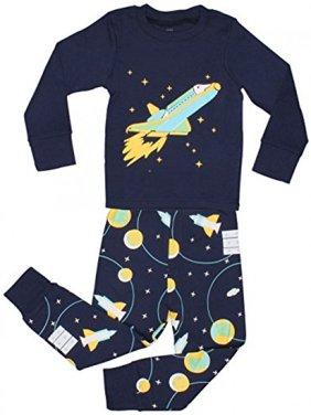 "Elowel Little Boys ""Space Rocket"" 2 Piece Pajama Set 100% Cotton - 4 Toddler"