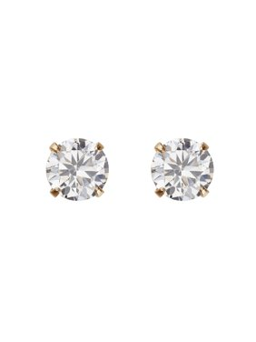 Simply Gold Kids' 10K Yellow Gold 4mm CZ/4mm Ball Stud Earrings