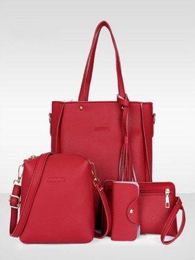 66497313668 Product Image Girl12Queen 4Pcs Luxury Fashion Women Tassels Wallet Card  Holder Handbag Crossbody Bag Set