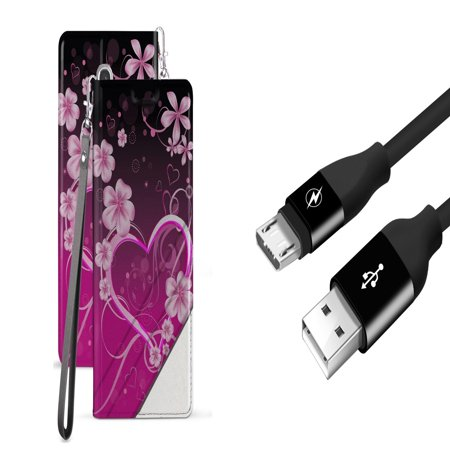 BC Synthetic PU Leather Magnetic Flip Cover Wallet Case (Love Flowers) with 5000+ Bend Lifespan USB Cable (3 feet) and Atom Cloth for Samsung Galaxy Amp Prime 3 2018 (Cricket)