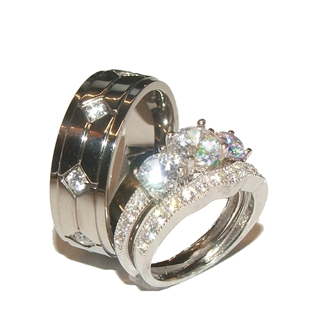 His & Hers 3 Stone Cz Wedding Engagement Ring Set Sterling Silver & Titanium ()