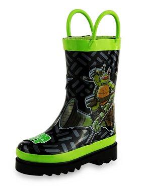 Nickelodeon Kids Boys' Teenage Mutant Ninja Turtles TMNT Character Printed Waterproof Easy-On Rubber Rain Boots (Toddler/Little Kids)