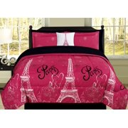 b6c06c0132 Queen Paris Comforter Pink Black White Eiffel Tower Bedding and Sheet 8  Piece Bed in a