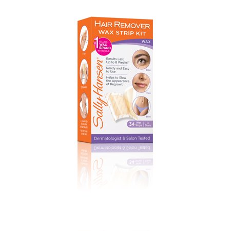 Sally Hansen Hair Remover Wax Strip Kit for Face, Brows & (Best Hard Wax For Brazilian Wax)