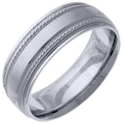 Mens 14KT White Gold 6mm Satin Milgrain Comfort Fit Wedding Band