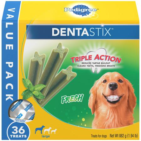 Pedigree Dentastix Large Dental Dog Treats, Fresh Flavor, 1.94 lb. Value Pack (36