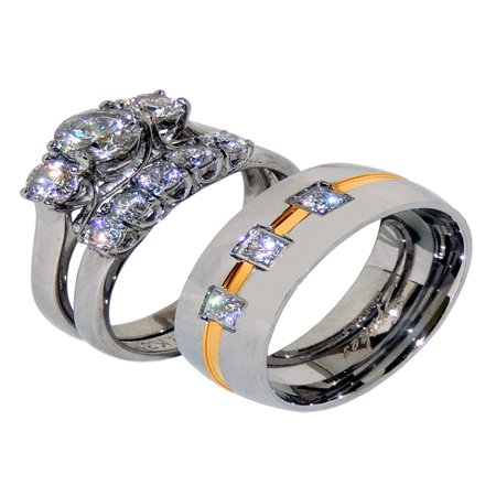 His Hers 3 PCS Stainless Steel 3 Stone Wedding Ring Set Mens 3 CZ with Gold Stripe Band- Size W5M8 3 Stone Wedding Band