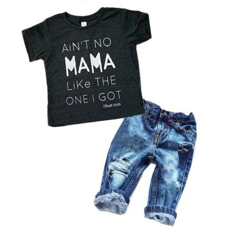 Newborn Toddler Infant Baby Boy Clothes T-shirt Top Tee +Denim Pants Outfits Set
