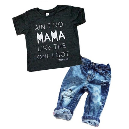 Newborn Toddler Infant Baby Boy Clothes T-shirt Top Tee +Denim Pants Outfits Set](Cute Toddler Christmas Outfits)