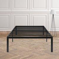 "GranRest 14"" Dura Metal Steel Slat Bed Frame, Twin size, Black"