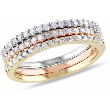Diamond Flower Stackable Ring - 5/8 Carat T.W. Diamond Multi-Colored Sterling Silver Three-Piece Stackable Ring Set